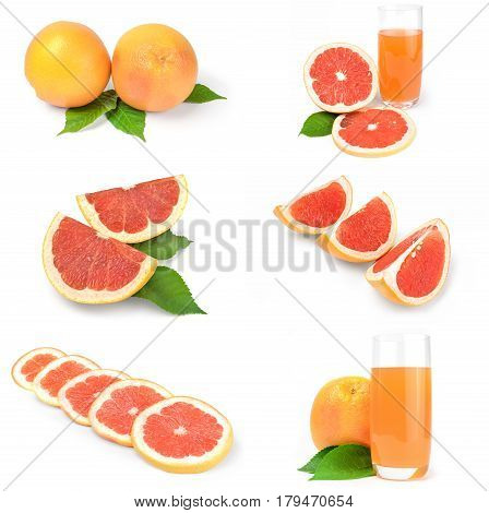 Collage of grapefruit over a white background