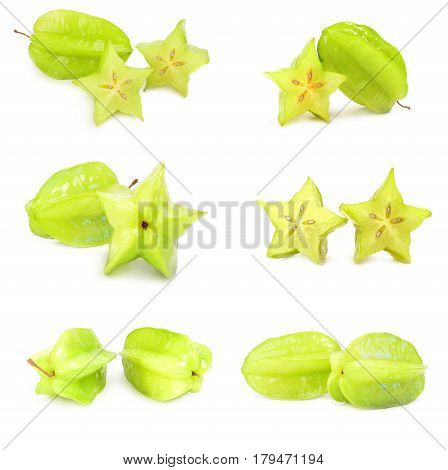Set of star fruit isolated on a white background cutout