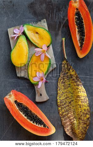 Fresh Tropical Fruits: Papaya And Mango