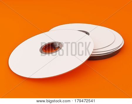 3D Illustration of White Compact discs on color background