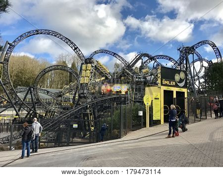 ALTON TOWERS - MARCH 31, 2017: The Smiler rollercoaster at Alton Towers Theme Park in Staffordshire, England, UK.