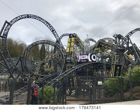 ALTON TOWERS - MARCH 30, 2017: The Smiler rollercoaster at Alton Towers in Staffordshire, England, UK.