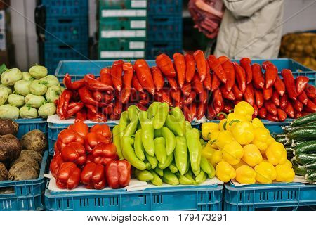 Fresh and organic vegetables at farmers market. Marketplace. Natural produce. Paprika. Pepper.