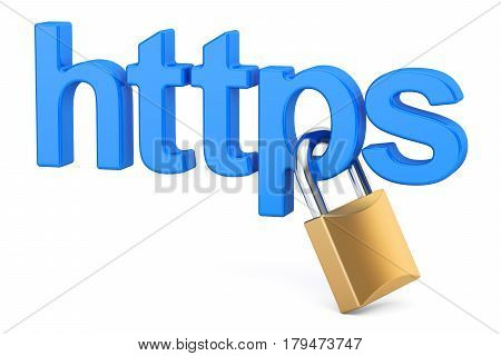 https with padlock Safe and Secure Networking concept. 3D rendering