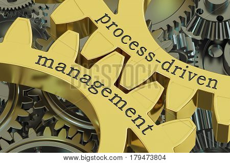 process-driven management concept on the gearwheels 3D rendering