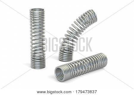 set of steel helical coil springs 3D rendering