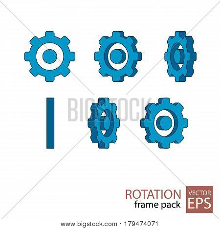 Gear Rotating Icon Set Of Frames