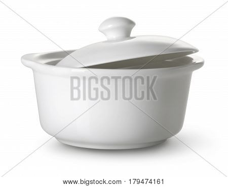 White ceramic tureen isolated on a white background