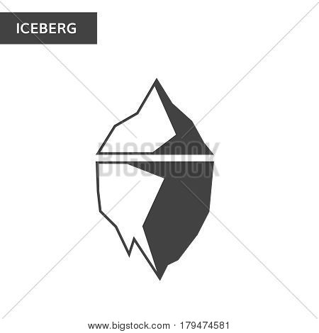 Monochrome iceberg icon dark and white iceberg logo