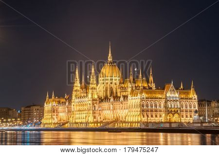 Night view of the Hungarian Parliament Building on the bank of the Danube in Budapest Hungary.