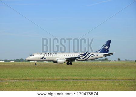 Amsterdam the Netherlands - June 9th 2016: PH-EZX KLM Cityhopper Embraer ERJ-190STD takeoff from Polderbaan runway Schiphol destination Manchester United Kingdom