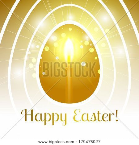 Festive Happy Easter greeting card with stylized Golden egg with a candle inside that emits light rays and bokeh particles and it's all inside a set of white egg contours