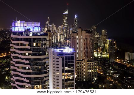 GOLD COAST, AUSTRALIA - MARCH 31 2017: City lights of Surfers Paradise, aerial nightscape from Broadbeach.
