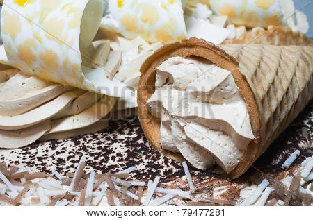 A Delicious Chocolate Mousse Cake Decorated With A Waffle Cone And A Glaze Is An Excellent Dessert C