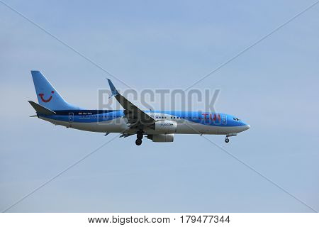 Amsterdam the Netherlands - March 31st 2017: PH-TFD TUI Airlines approaching Polderbaan runway at Schiphol Amsterdam Airport the Netherlands