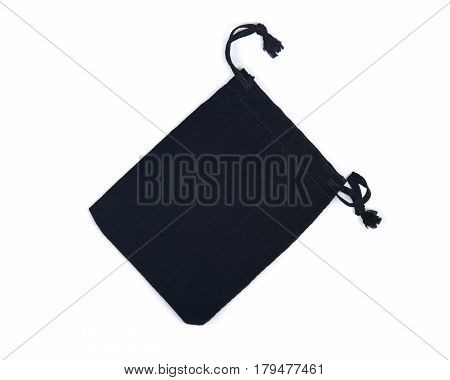 Black velveteen crystal pouch isolated on white background