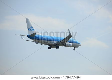 Amsterdam the Netherlands - March 31st 2017: PH-BGR KLM Royal Dutch Airlines Boeing 737 approaching Polderbaan runway at Schiphol Amsterdam Airport the Netherlands