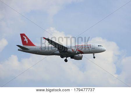 Amsterdam the Netherlands - March 31st 2017: CN-NMH Air Arabia Maroc Airbus A320 approaching Polderbaan runway at Schiphol Amsterdam Airport the Netherlands