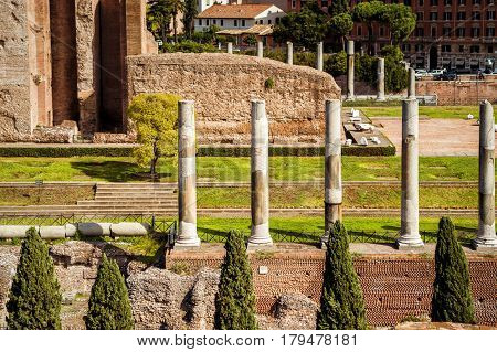 Ancient columns the ruins of the temple of Venus at the Roman Forum in Rome, Italy