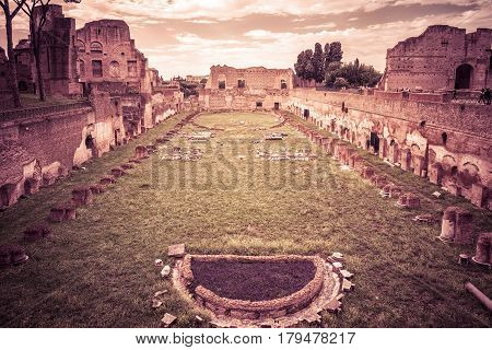 Ruins of the ancient Stadium of Domitian on the Palatine Hill near the Roman Forum in Rome, Italy