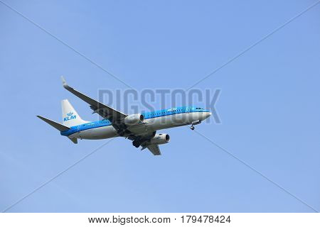 Amsterdam the Netherlands - March 31st 2017: PH-BXK KLM Royal Dutch Airlines Boeing 737-800 approaching Polderbaan runway at Schiphol Amsterdam Airport the Netherlands