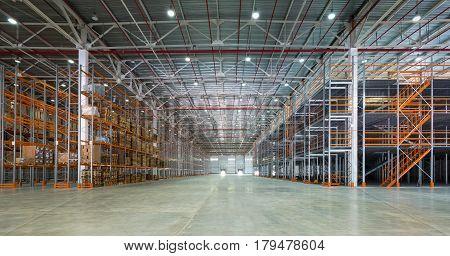 A big modern storage room, inside a warehouse