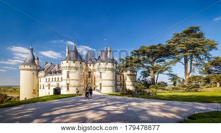 Panoramic view of Chateau de Chaumont-sur-Loire, France. This famous castle is located in the Loire Valley was founded in the 10th century and was rebuilt in 15th.