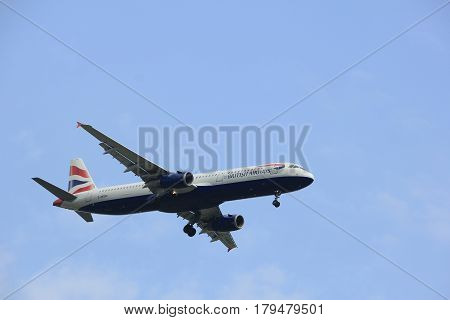 Amsterdam the Netherlands - March 31st 2017: G-MEDM British Airways Airbus A321-200 approaching Polderbaan runway at Schiphol Amsterdam Airport the Netherlands