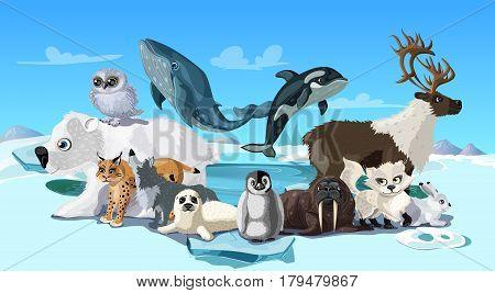 Arctic animals cartoon template with polar mammals and birds on snowy winter antarctic landscape vector illustration