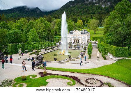 Linderhof Palace Is A Schloss In Germany Near Ettal Abbey.
