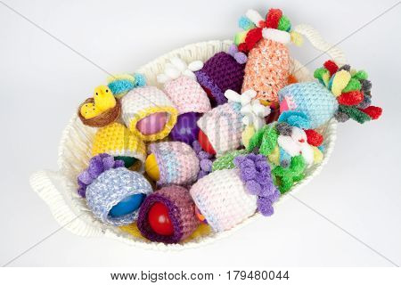 lot knitted cap and eggs for Easter