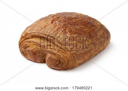Single french chocolat croissant on white background
