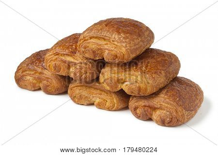French chocolat croissants on white background