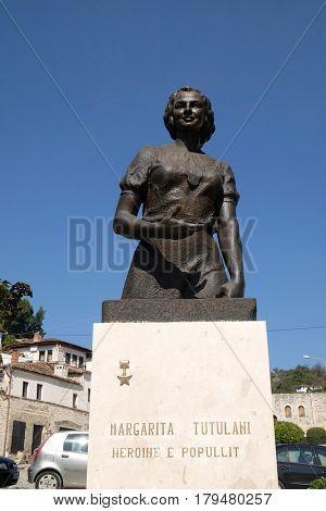 BERAT, ALBANIA - OCTOBER 01, 2016: Partisan hero Margarita Tutulani memorial, Bulevardi Republika in Old town Berat, Albania on October 01, 2016.