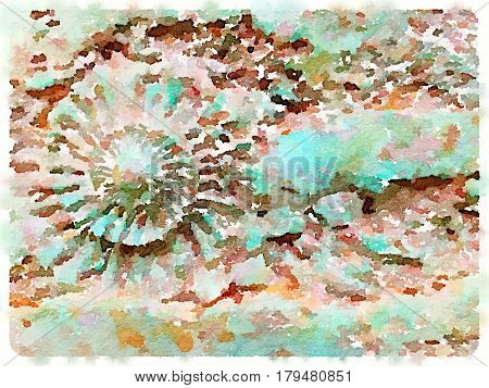 Digital watercolor painting of an ammonite in green and brown colors with space for text.
