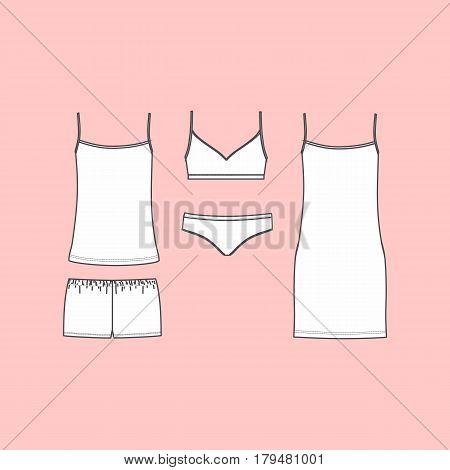 panties and bra, pajamas, home clothes. Set of lingerie,