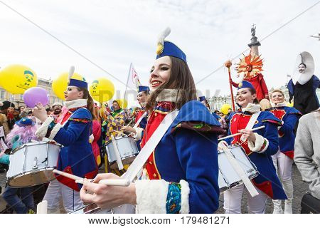 Saint-Petersburg, Russia - April 1, 2017: Show of drummers on Funny festival XVI on the Palace Square