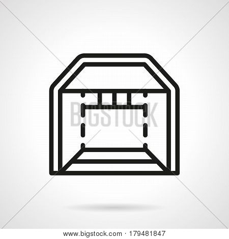 Abstract symbol of trade booth. Folding tents and show pavilion, marquee and other structures for business. Black simple line design vector icon.