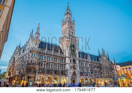 Munich Town Hall - Neue Rathaus On Marienplatz At Night