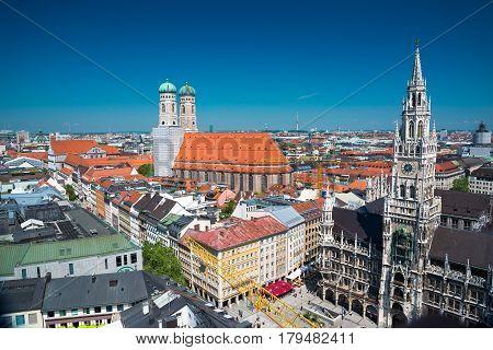 City View With Sky, Frauenkirche, Marienplatz, Munich Bavaria, Germany