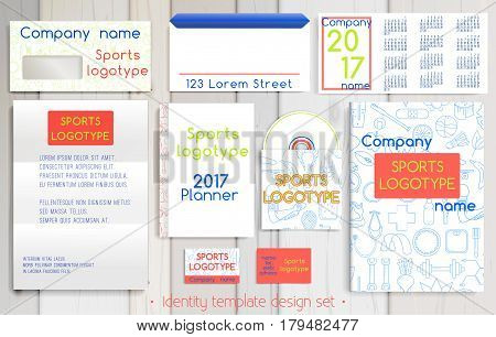 Sport company corporate identity template design set. Documentation for business. Business stationery. Vector mock up. Company style for brandbook and guideline with colorful sport pattern.