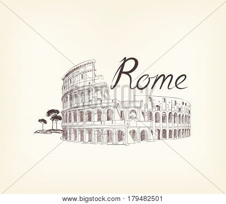 Rome famous place with lettering Travel Italy background. City landmark engraving sign