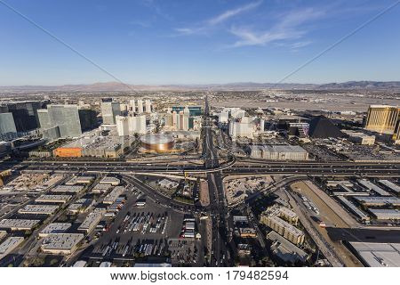 Las Vegas, Nevada, USA - March 13, 2017:  Aerial view of Tropicana Ave and Interstate 15 near the Las Vegas Strip.