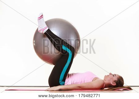 Beautiful Lady With Fit Ball.