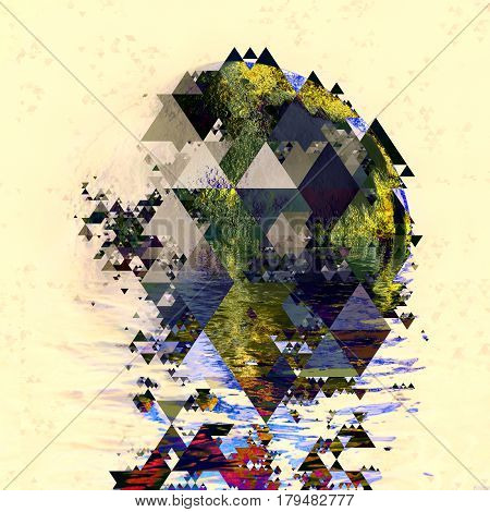 triangles planet abstraction, planet surface of geometric shapes modern art