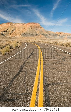 Two lane highway Utah Canyon Country Vertical