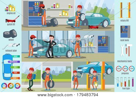 Car repair service infographic concept with workers replacing tyres making diagnostic and different mechanic tools vector illustration