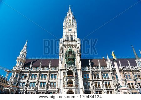 The New Town Hall In Marienplatz In Munich, Bavaria, Germany.