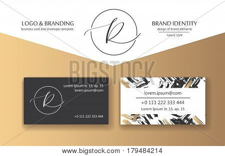 Sophisticated brand identity. Letter R line logo. Can be used by appropriate brand name. Business card template included