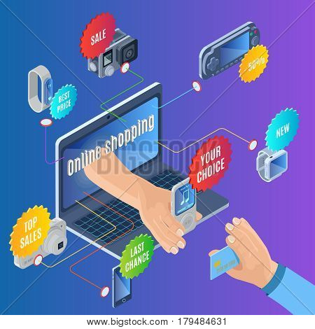 Isometric online shopping concept with electronic portable gadgets and devices for sale and colorful stickers vector illustration
